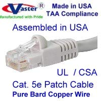 UL cm and 100/% Copper. 24AWG, 50u Gold Plating Made in USA, 30 Ft Cat5e Ethernet Patch Cable Beige or Gray RJ45 Computer Networking Cord -