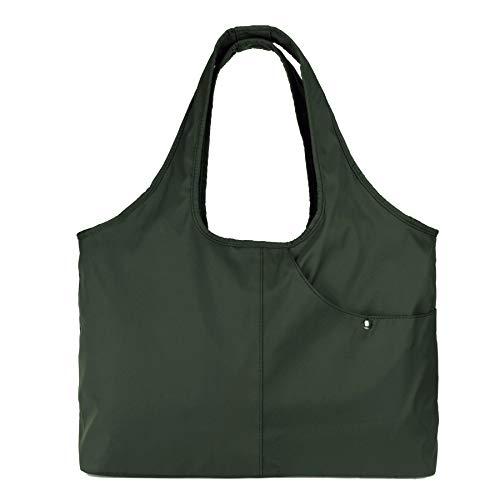 Tote Womens Fabric Handbag - ZOOEASS Women Fashion Large Tote Shoulder Handbag Waterproof Tote Bag Multi-function Nylon Travel Shoulder(Green)