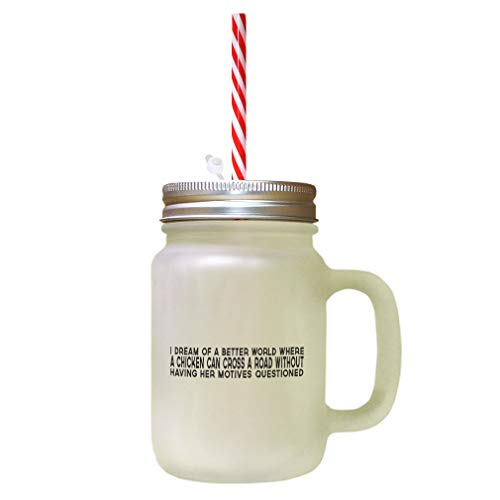 Black Dream Od Better World Where Chechen Can Cross Road Frosted Glass Mason Jar With -