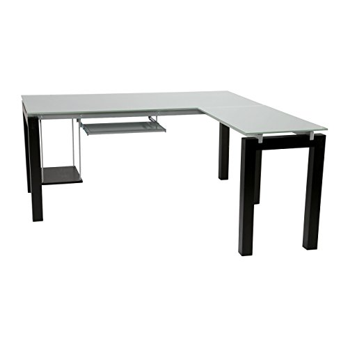 Eurø Style Ballard Wood L Shaped Desk with Clear Glass Top, Wenge Finish - Glass Top Silver Finish