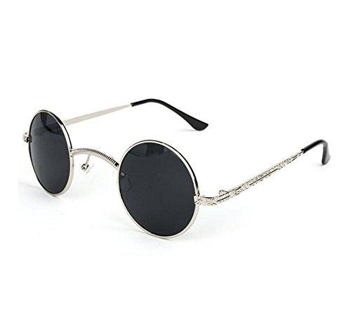 Plateado metal marco caja Retro no de polarizado redondo sol hippy personalidad Gris gafas puente pequeña Steampunk de qwTw7Zx6