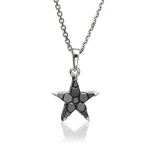 Natural 0.5 TCW Black Diamond Star Pendant Necklace 18K White Gold Anniversary Jewelry for - Star 18k Pendant Diamond Gold White