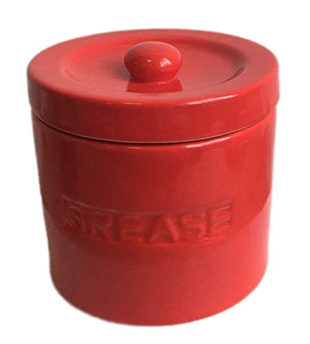 - Ceramic Grease Container Keeper with Metal Stainless Steel Strainer and Lip for Easy Pour (Red)