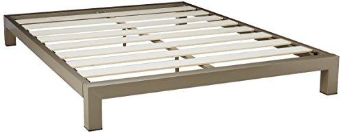stella metal platform bed frame modern finish thick and wide slats grey champagne