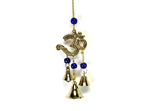 (FIGO INC Hindu Brass OM Symbol with Beads and 3 Bell Wind Chime, 9