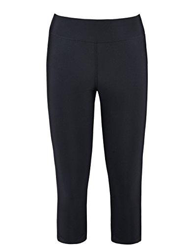 Hilor Women's High Waist UV Rash Guard Pants Crop Swim Leggings Sports Capri Tights