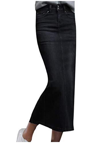 (Fseason-Women Trim-Fit Split Denim Winter High Waisted Bodycon Maxi Skirt Black M)