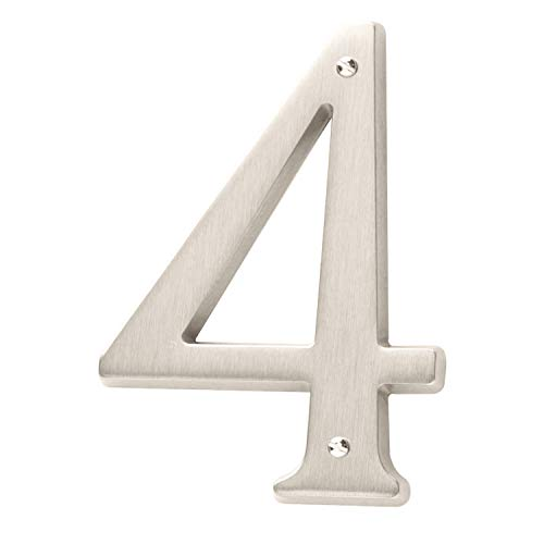 (Baldwin Estate 90674.150.CD Solid Brass Traditional House Number Four in Satin Nickel, 4.75