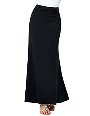 Kate Kasin Women's Lightweight Stretch Solid Long Maxi Skirt High Waist
