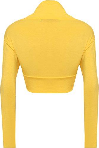 Forti Unita Taglie Tinta Yellow A Manica Donna Da Lunga Bolerino vCqOq