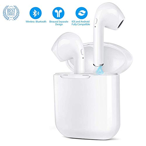 Bluetooth Headphones, Wireless Earbuds Stereo in-Ear Noise Cancelling Headset with with Charging Box and Microphone Sport Bluetooth Earphones Running Headphones for Women and Men