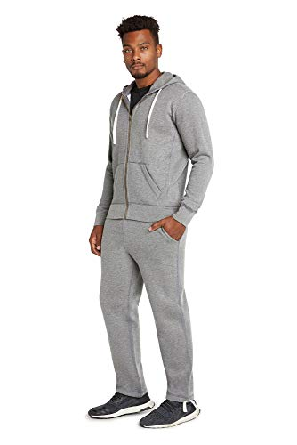 - 9 Crowns Men's Mid-Weight Fleece Modern Fit Sweat Suit Hoodie Set-LtGrey-4XL