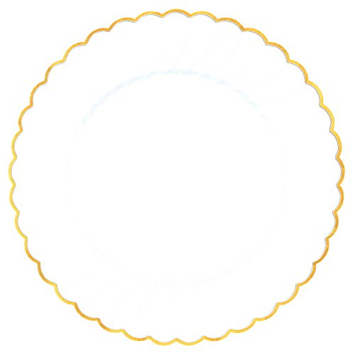 Amscan (Amsdd) Premium Plastic White Scalloped Plates
