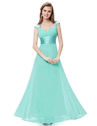 Ever-Pretty Juniors Floor Length Trailing Empire Waist Prom Dress 8 US Aqua ()