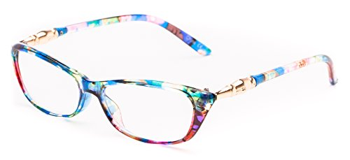 Readers.com The Dahlia +3.50 Rainbow Floral Funky Women's Cat Eye Cheater Glasses Patterned Frame Reading - Funky Women Glasses For