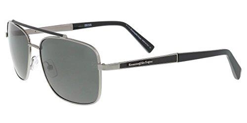 Ermenegildo Zegna EZ0036 Sunglasses 59 12D Shiny Dark Ruthenium Smoke - Sunglasses Zegna
