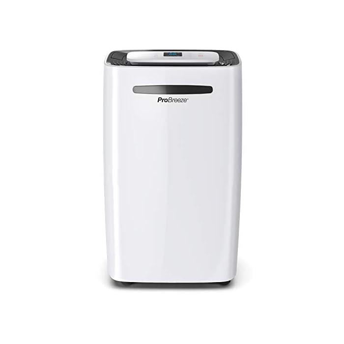 31n9uY78hIL GRAN EFICIENCIA: Deshumidificador de compresión, puede absorber hasta 20 litros de agua por día y es ideal para eliminar vapores, humedad y moho en hogares, bodegas, habitaciones y baños. Deshumidificador altamente eficiente, también está equipado con una cerradura de seguridad para niños, solo ventilador, pantalla de suspensión y ruedas. ESTABLEZCA LA HUMEDAD QUE QUIERE: El sensor de humedad integrado le permitirá configurar el nivel de humedad que desea en la habitación. Una vez que alcance el nivel establecido (30% -80%), el aparato se apagará para consumir menos y ahorrar energía. PANTALLA DIGITAL: Tiene una pantalla LED digital que muestra la humedad en la habitación. Poseer un panel de control fácil de usar le permite configurar los siguientes modos: normal, baja potencia, alta potencia, secado de ropa y temporizador para encender y apagar.