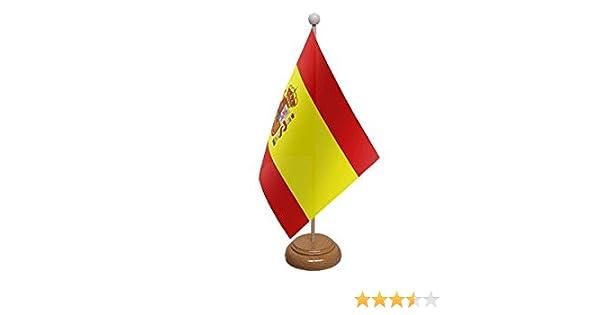 Bandera de España para escritorio, grande, con base y poste de madera, ideal para decoración de fiestas, conferenciasy oficina. 22,9 x 15,2 cm: Amazon.es: Hogar