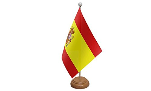 22, 9 x 15, 2 cm badge Crest spagnolo Spagna desktop bandiera da tavolo con base in legno e palo ideale per party conferenze ufficio display 9x 15 UK Flag Shop