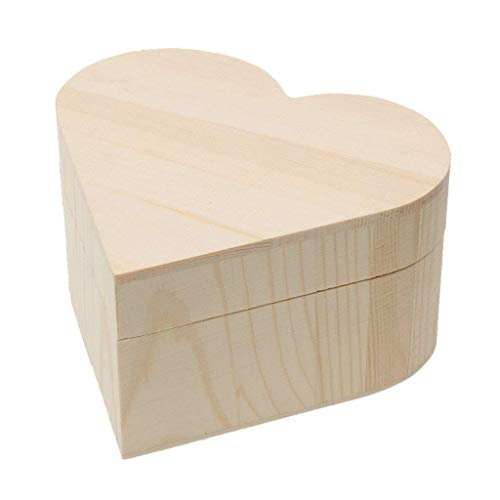 Xeminor Wooden Storage Case Durable Wooden Trinket Box Heart Trinket Box Plain Wooden Case Wooden Crafts Case for Trinket Jewellery Gift 1 Pcs by Xeminor (Image #6)