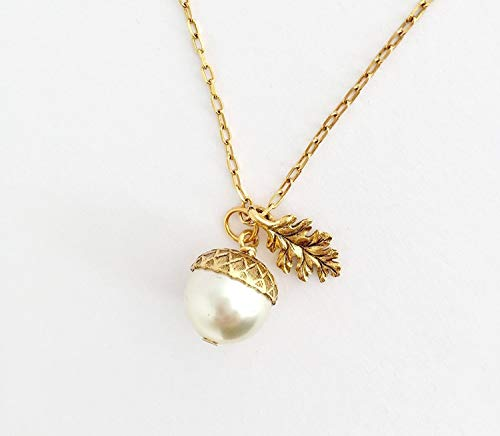 Acorn Pendant Necklace Gold Brass Etched Leaf Charm - Ivory - 20 Inch Chain