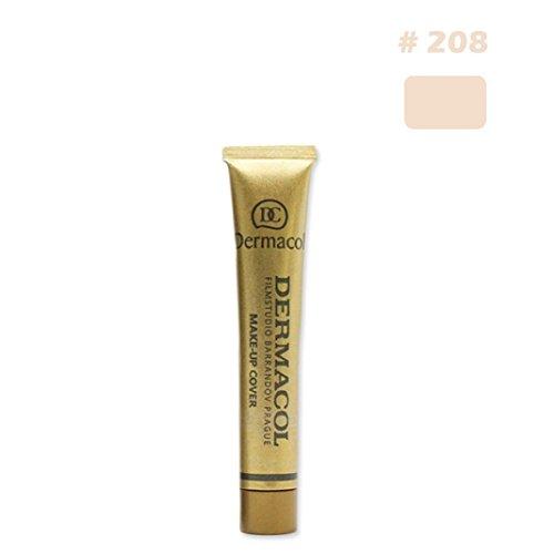 Skin Care,Enjocho 1PC Dermacol Waterproof High Covering Makeup Natrual Foundation Cream Face Eye Concealer Highlight Contour Pen Stick, Black Box (208#)