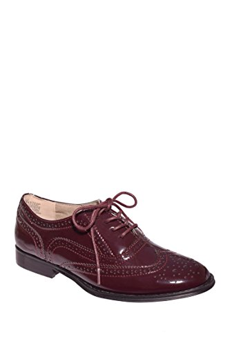 Wanted+Shoes+Womens+Babe+Oxford%2C+Burgundy+Patent%2C+8.5+M+US