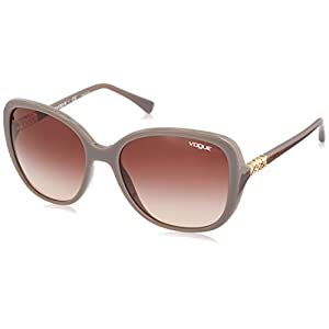 VOGUE Women's Plastic Woman Oval Sunglasses, Turtledove, 55.8 mm