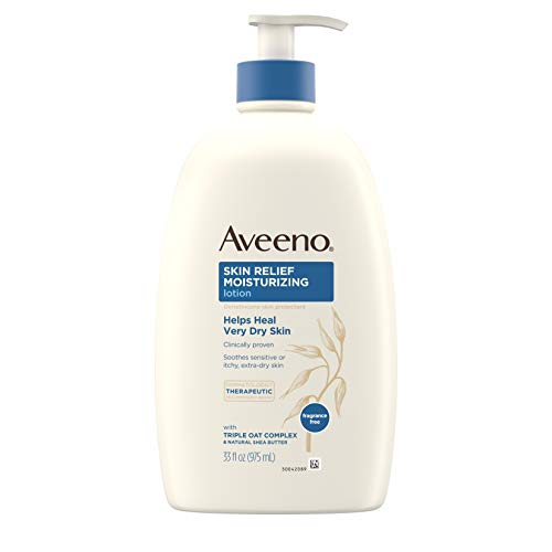 Aveeno Skin Relief Moisturizing Lotion for Sensitive Skin with Natural Shea Butter & Triple Oat Complex, Unscented Therapeutic Lotion for Extra Dry, Itchy Skin, 33 fl. oz