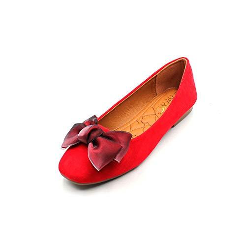 FLYRCX Dulce Arco Fondo Suave Antideslizante Suave y cómodo Zapatos Planos Rojo Solo Zapatos señoras Zapatos de Trabajo de Oficina, 37 UE 37 EU