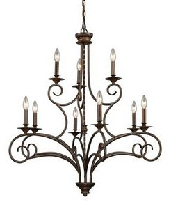 Elk Deco Art Chandelier (Elk 15043/6+3 Gloucester 9-Light Chandelier, 38