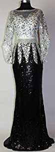 Meier Women's Two Tone Sequin Prom Formal Gown with Bell Sleeves