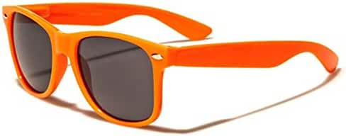 Classic Retro 80's Wayfarer Sunglasses with Flex Fit Frame - 100% UV400 Lens - Orange