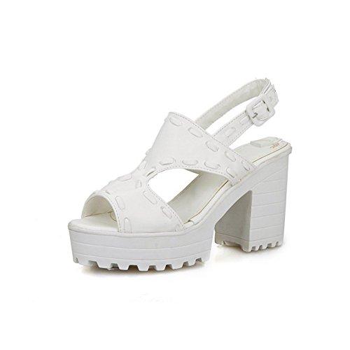 BalaMasa Womens Solid Cross Weaving Soft Material Sandals White dEcbahy1r8
