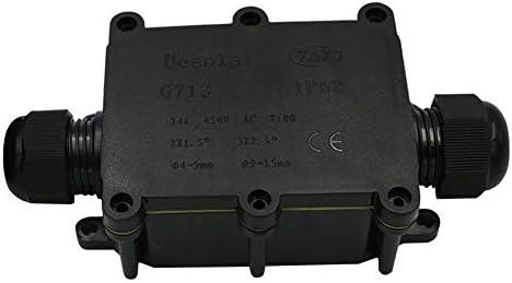 negro Huyu IP68/resistente al agua caja de derivaci/ón conector externo caja de derivaci/ón el/éctrica de 2/V/ías para 5/mm-12/mm