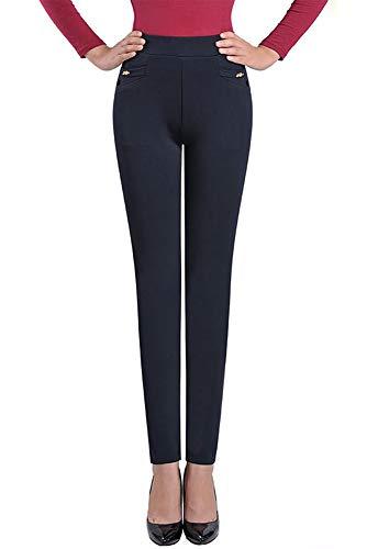 Yihigh Scuro Colore Donna Vita Forti Taglie Elasticizzata Solido Di Pantaloni Blu Casual Alta Leggings SFwnUrSqO