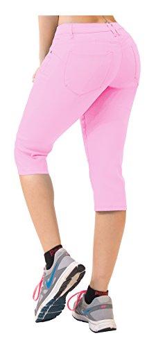 (Women's Butt Lift Super Comfy Stretch Denim Capri Jeans Q43308X Pink 24)