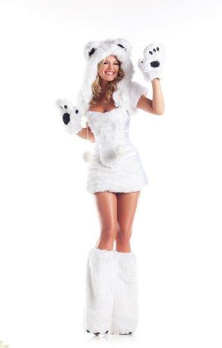 Be Wicked Costumes Women's Polar AR Costume, White, Medium/Large - Polar Bear Halloween Costume