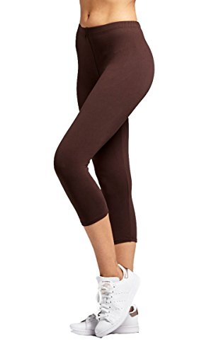 Capri Brown Apparel (Conceited Premium Ultra Soft Women's Capri Cropped Leggings - High Waist - 20 Colors 2 Sizes One Size (0-12), Brown)