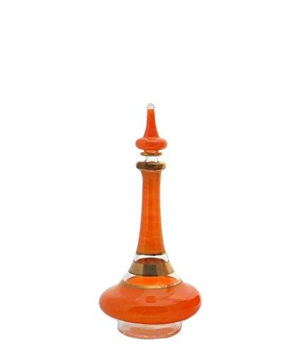 """Egyptian Handblown Genie Bottle - Orange - 6"""""""