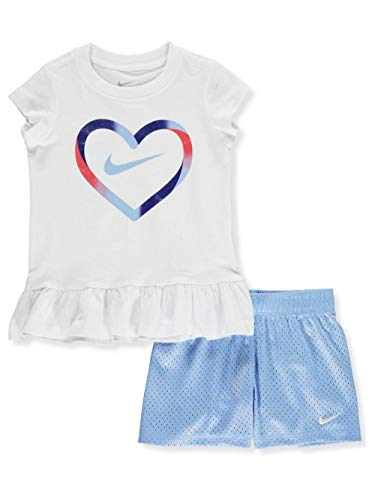(Nike Girls' 2-Piece Shorts Set Outfit - Blue, 2t)