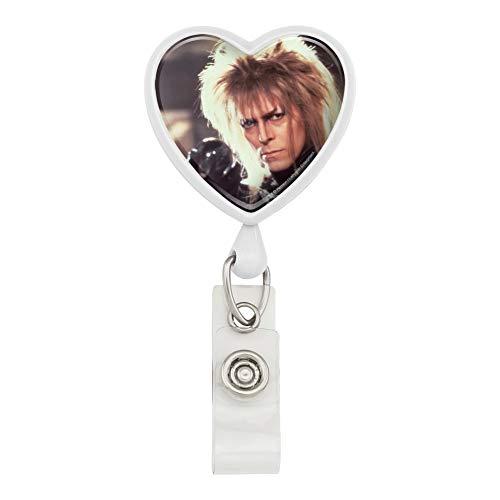 Labyrinth Goblin King Crystal Ball David Bowie Jareth Heart Lanyard Retractable Reel Badge ID Card Holder - White ()