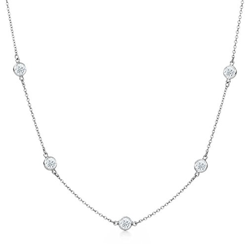 (NYC Sterling Stainless Steel Cubic Zirconia Station Necklace 24