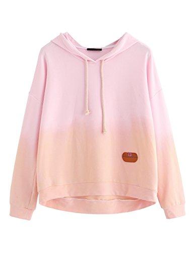 SweatyRocks Women's Sweatshirt Pullover Hoodie Cotton Shirt Blue Ombre (Large, Pink_Apricot)