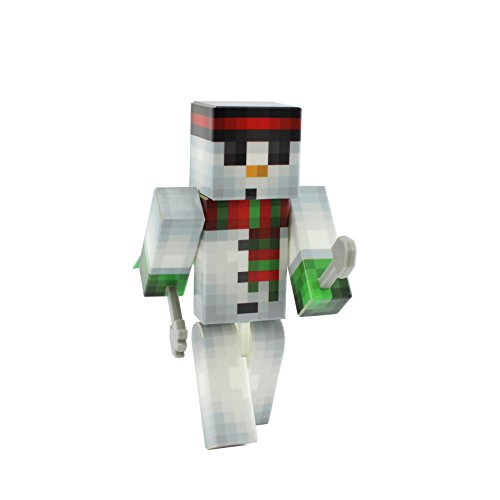 Snowman Action Figure Toy, 4 Inch Custom Series Figurines by EnderToys (Minecraft Foam Iron Pickaxe)