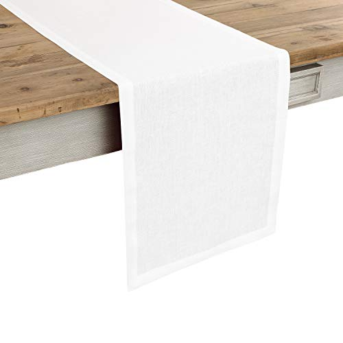 Solino Home 100% Pure Linen Table Runner - 14 x 72 Inch Athena, Handcrafted from European Flax, Natural Fabric Runner - White