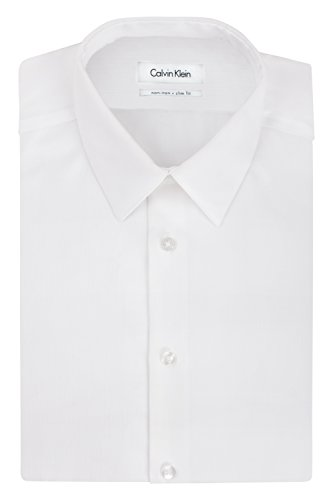 Calvin Klein Men's Non Iron Slim Fit Solid Point Collar Dress Shirt, White, 16