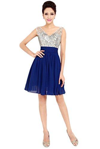 Royalblau Festkleid Kurz Damen V Ballkleider Ivydressing Abendkleider Ausschnitt Elegant Brautjungfernkleid Steine vE4118w7nx