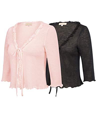 (Kate Kasin 2 Pack 3/4 Sleeve Open Front Cropped Bolero Shrug Black & Pink Size S ZHXS0057-2)