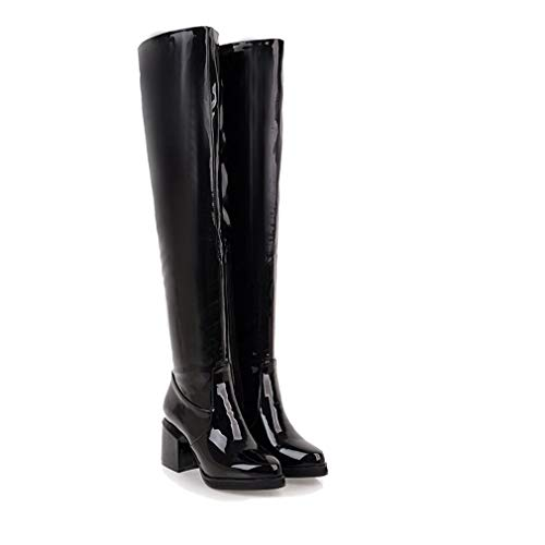 Black T-JULY Fashion Women Over The Knee Boots Patent Leather High Heels Large Ladies Party shoes